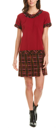 Anna Sui Braided Tweed Wool-Blend Shift Dress