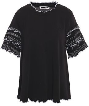 McQ Ruffle-trimmed Embroidered Cotton-jersey Top
