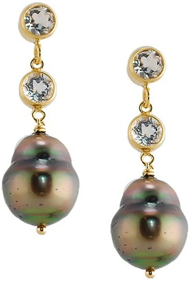 Amy Holton Designs Tahitian Pearl Post Earrings With Two White Topaz