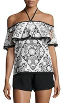 Alexis Isa Off-The-Shoulder Contrast-Trim Top, Black/White