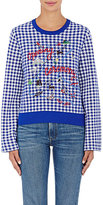 Opening Ceremony Women's Gingham Appliquéd Sweater-BLUE