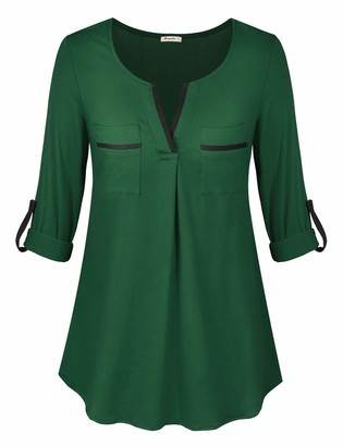 Moyabo Womens Blouse Business Casual Tops for Women 3/4 Sleeve V Neck Shirt Lightweight Loose Fitted Shirts Blackish Green Medium