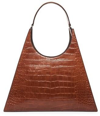 STAUD Large Rey Croc-Embossed Leather Shoulder Bag