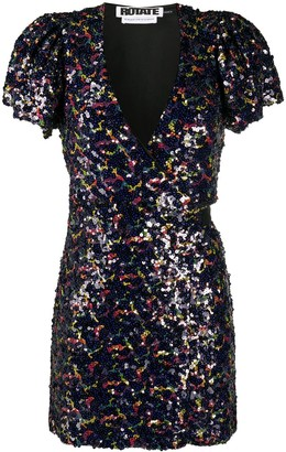 Rotate by Birger Christensen Sequin Wrap Mini Dress