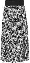 Fendi Printed Silk-georgette Midi Skirt - Black