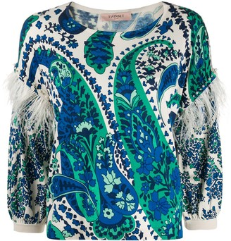 Twin-Set Feather Trim Knitted Top