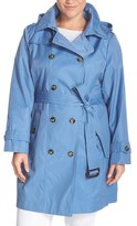 London Fog Double Breasted Trench Coat with Detachable Hood (Plus Size)