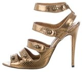 Manolo Blahnik Metallic Snakeskin Sandals