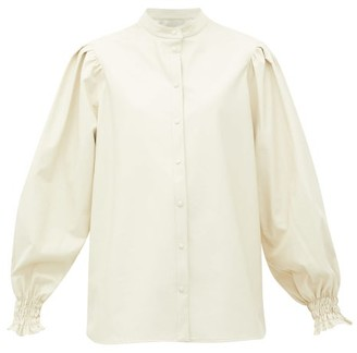 MSGM Collarless Balloon-sleeve Faux-leather Shirt - Womens - White