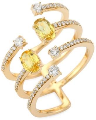 Hueb Spectrum Diamond, Yellow Sapphire & 18K Yellow Gold Ring