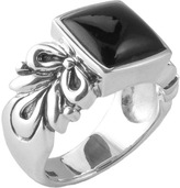 Barse Women's Onyx Scrolled Sterling Ring BASIR05X