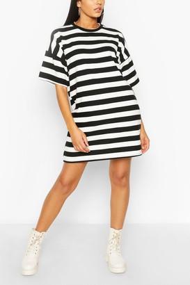 boohoo Stripe Oversized T-shirt Dress