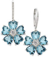 Nina Silver-Tone Blue and Clear Crystal Flower Drop Earrings