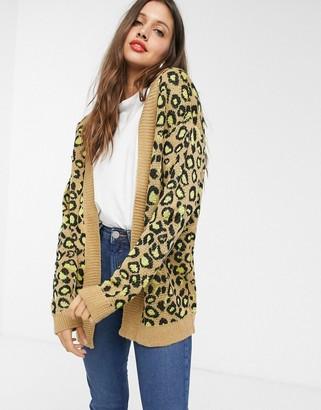 Brave Soul leopard cardigan-Tan