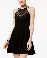 Material Girl Juniors' Lace Appliqué Fit & Flare Dress, Only at Macy's