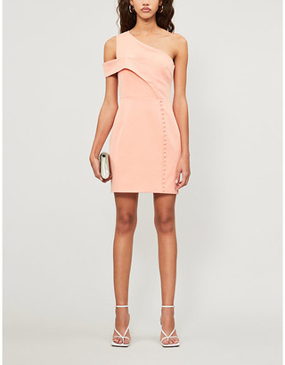 Lavish Alice Buttoned asymmetric woven mini dress