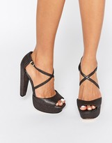 Faith Daniella Cross Strap Platform Heeled Sandals