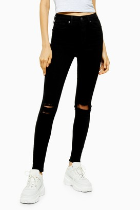 Topshop Womens Tall Black Wash Ripped Jamie Skinny Jeans - Black