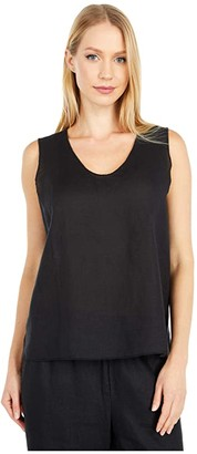 Eileen Fisher Round V-Neck Shell (Black) Women's Clothing