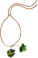 Marni Leather, gold-tone and horn necklace