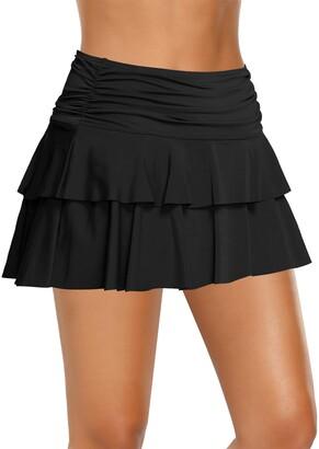 Lookbook Store LookbookStore Women Ruffled Skirted Bikini Bottom Mid Waist Swim Skirt Swimsuit