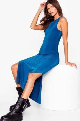 Nasty Gal Womens You've Got a Slinky Side Slit Midi Dress - Teal