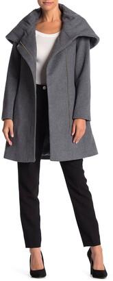 Cole Haan Wool Blend Cape Zip Jacket
