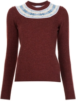 Barrie Crewneck Fitted Sweater - Burgundy