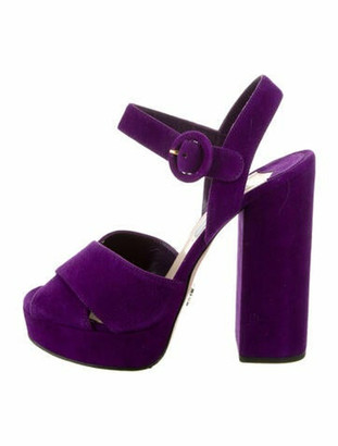 Prada Suede Platform Sandals Purple