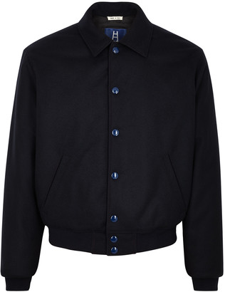 Marni Navy reversible wool-blend bomber jacket