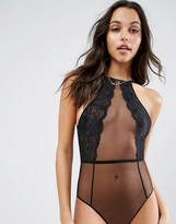 Asos Thea High Neck Lace & Mesh Bodysuit