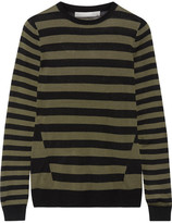 Jason Wu Striped Silk Sweater - Army green