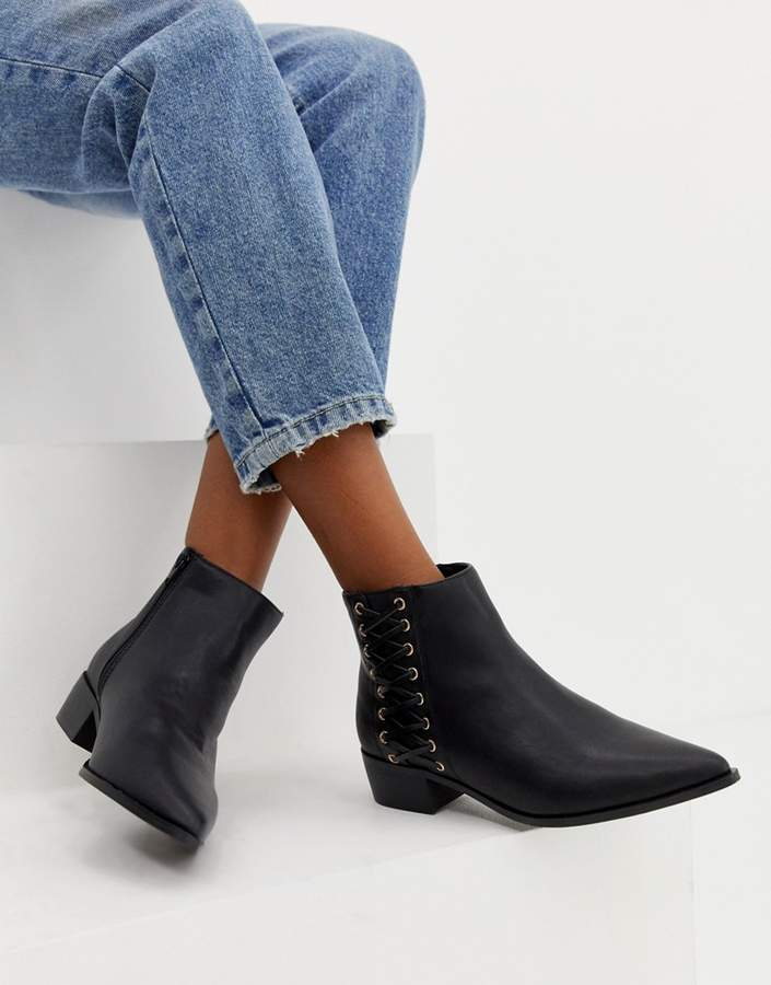 London Rebel Pointed Flat Ankle Boots