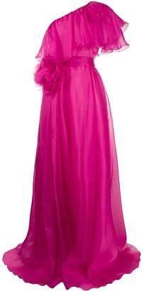 Blumarine One-Shoulder Tie-Waist Gown