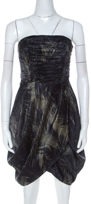 McQ Moss Green and Black Feather Printed Strapless Dress M
