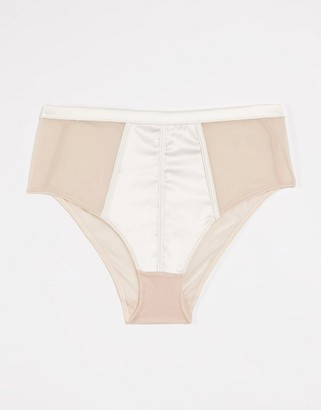 Figleaves Pimlico sheer mesh high waist brief in ivory