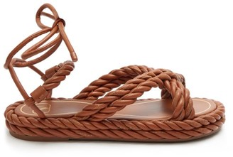 Valentino The Rope Ankle-tie Leather Sandals - Womens - Tan