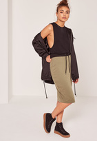 Missguided Contrast Waistband Loopback Midi Skirt Khaki