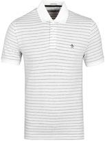 Penguin Bright White Striped Short Sleeve Polo Shirt