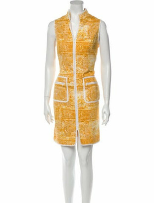 Oscar de la Renta Printed Knee-Length Dress Yellow