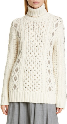 Michael Kors Collection Studded Cashmere Aran Sweater