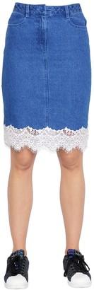 SteveJ & YoniP Cotton Denim Skirt W/ Lace Trim
