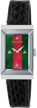 Gucci G-Frame Stainless Steel and Leather-Strap Watch