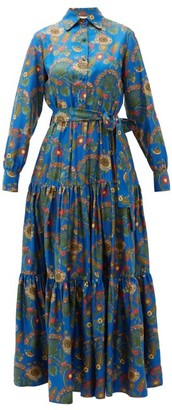La DoubleJ Bellini Tiered Thistle-print Silk Shirt Dress - Blue Print