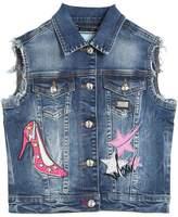Philipp Plein Junior Embellished Washed Stretch Denim Vest