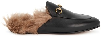 Gucci Princetown fur-trimmed leather loafers