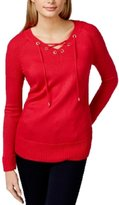 Calvin Klein Womens Knit Ribbed Trim Pullover Sweater Pink XL