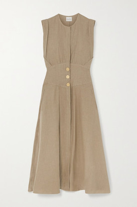 Le Kasha Dishna Pleated Linen Midi Dress - Army green