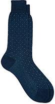 Barneys New York Men's Micro-Dot-Pattern Trouser Socks-BLUE