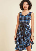 ModCloth The Dancer to Your Questions A-Line Dress in Blue Plaid in 1X
